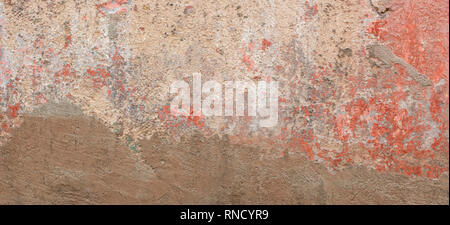 Old cracked weathered shabby red painted and new plastered wall banner background - Stock Photo