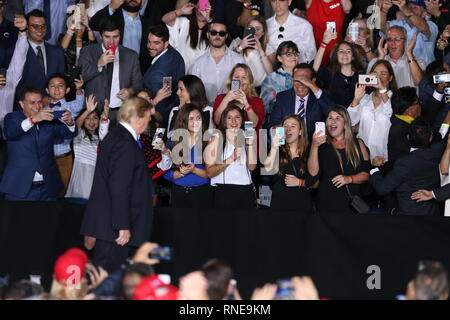 Miami, United States Of America. 18th Feb, 2019. President Donald Trump and First Lady Melania Trump attend a rally at Florida International University on February 18, 2019 in Miami, Florida. President Trump spoke about the ongoing crisis in Venezuela.  People: Atmosphere Credit: Storms Media Group/Alamy Live News - Stock Photo