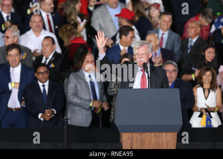 Miami, United States Of America. 18th Feb, 2019. President Donald Trump and First Lady Melania Trump attend a rally at Florida International University on February 18, 2019 in Miami, Florida. President Trump spoke about the ongoing crisis in Venezuela.  People: National Security Advisor John Bolton Credit: Storms Media Group/Alamy Live News - Stock Photo
