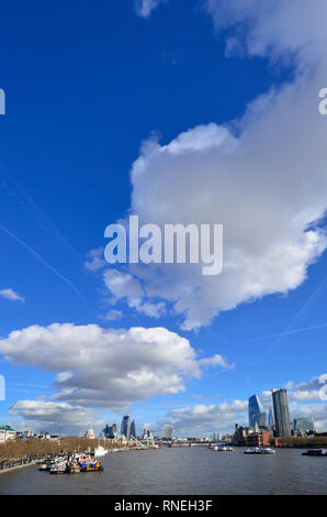 London, UK. 19th Feb, 2019.  More mild weather and blue skies in London , as seen from Waterloo Bridge Credit: PjrFoto/Alamy Live News - Stock Photo