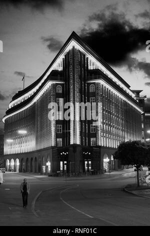 Illuminated Chile House in Hamburg Germany - Stock Photo