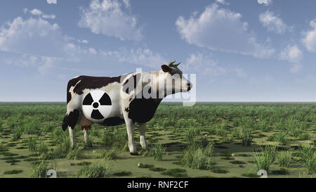 Cow with radiation sign stands on green field - Stock Photo