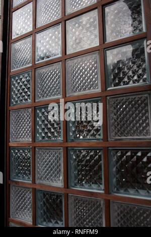 Textured glass square bricks wall pattern - Stock Photo