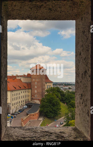View on a Wawel Royal Castle from the tower window - Stock Photo