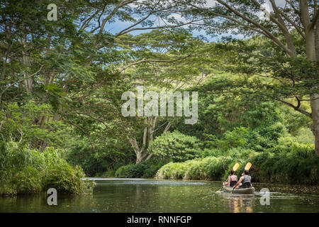 The Wailua River, Wailua, Kauai, Hawaii, is a popular and scenic place to enjoy exploring by kayak and hikes to various sites along the river. - Stock Photo