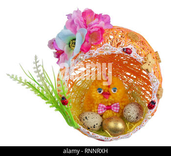 Easter handmade chicken with eggs in nest from  thread  and paper. Isolated on white studio concept - Stock Photo