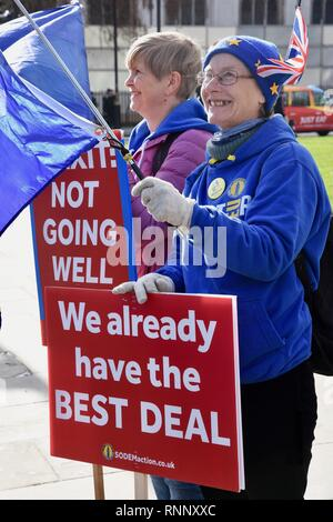 London, UK. 19th Feb, 2019. Anti Brexit Demonstrations,Pro EU Protest,Houses of Parliament,Parliament Square,Westminster,London.UK Credit: michael melia/Alamy Live News - Stock Photo