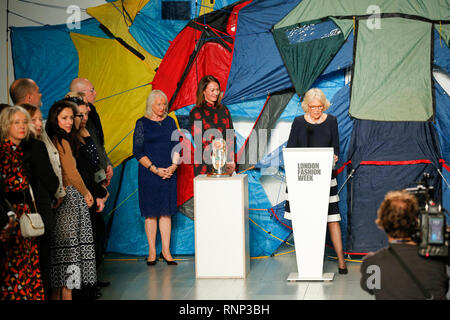 London, UK. 19th Feb 2019.  Bethany Williams catwalk show on the final day of  London Fashion Week was honored by Camilla, Duchess of Cornwall Credit: catwalking/runways/Alamy Live News - Stock Photo