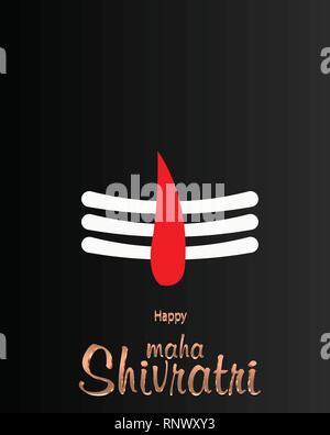 Greeting card for Maha Shivratri, a Hindu festival. Vector illustration - Stock Photo