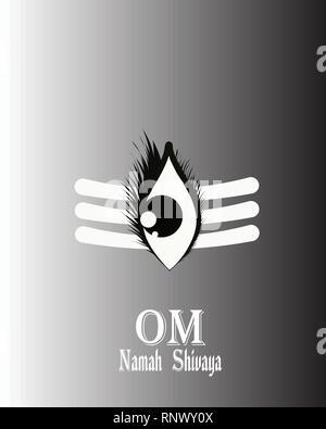 illustration of Lord Shiva, Indian God with message Om Namah Shivaya - Stock Photo