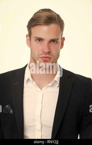 Man well groomed in formal outfit, isolated white background. Male fashion concept. Business dress code means for men suit. Business dress code. Businessman gentleman dressed professional attire. - Stock Photo