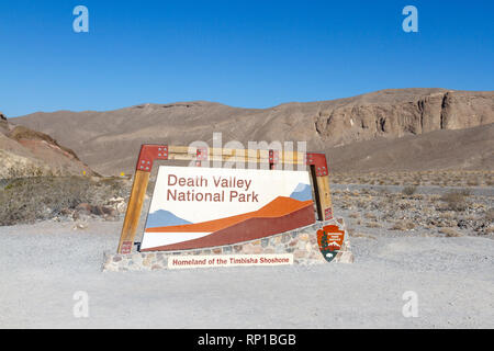 Death Valley National Park entrance sign, California, United States. - Stock Photo