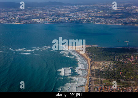 View from plane window on a Tagus River empties into the Atlantic Ocean near Lisbon, Portugal - Stock Photo