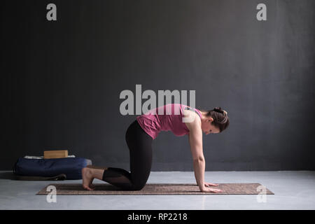 Woman working out ag doing yoga or pilates exercise. Cat, Marjaryasana - Stock Photo