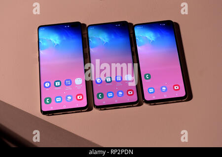 London, UK. 19th Feb, 2019. The Samsung Galaxy S10 , S10 and S10e (l-r) smartphones can be seen at a company event. The new top models are intended to compete with Apple's iPhone, among other things. Credit: Andrej Sokolow/dpa/Alamy Live News - Stock Photo