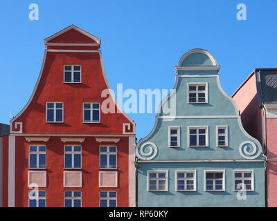 Historic houses in the old town of Rostock, Germany - Stock Photo