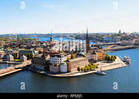 View of Stockholm skyline on Gamla Stan from above at the top of Stockholm Stadshus / town hall during a clear summer day (Stockholm, Sweden, Europe) - Stock Photo