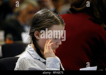 Brussels, Belgium. 21st February 2019. Sixteen year-old Swedish climate activist Greta Thunberg attends in  the European Economic and Social Committee event. Alexandros Michailidis/Alamy Live News - Stock Photo