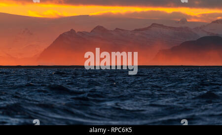 Beautiful sunset capture from the city Hofn, Iceland. - Stock Photo