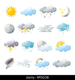 Icons for weather forecast or overcast. Cloud - Stock Photo