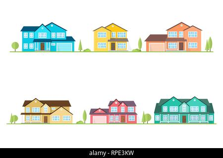 Neighborhood with homes illustrated on white. Vector flat icon suburban american houses. For web design and application interface, also useful for infographics. Vector illustration. - Stock Photo