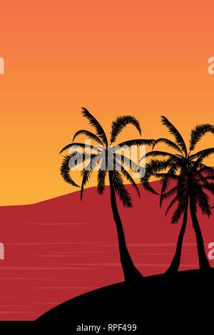 Tropical landscape Summer background. Palm trees silhouette. Vector illustration - Stock Photo