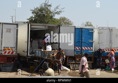 Trucks at the parking lot of Mbour fish market - Stock Photo