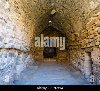 interior of Tash Rabat caravanserai in Tian Shan mountain , Naryn province, Kyrgyzstan - Stock Photo