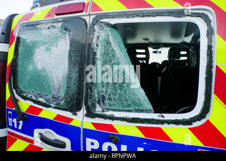 Police vehicle destroyed by the Yellow Jackets, Chassieu, France - Stock Photo
