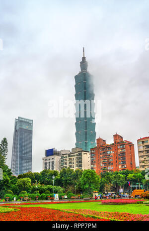 Skyscrapers in Taipei, Taiwan, as seen from Zhongshan Park - Stock Photo