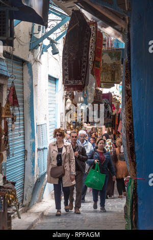 TUNIS, TUNISIA - APRIL 3: Busy and crowded market, or souk, in the medina of Tunis, Tunisia on April 3, 2018 - Stock Photo