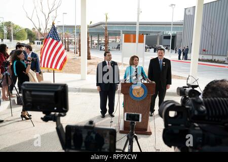 United States House of Representatives Speaker Nancy Pelosi (D-CA), with U. S. Rep. Henry Cuellar (D-Laredo), left, and Laredo Mayor Pete Saenz, speaks at a press conference at Port of Entry #2 in Laredo, Texas. - Stock Photo