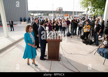 United States House of Representatives Speaker Nancy Pelosi (D-CA) waits to talk to the press at Port of Entry #2 after touring the Texas-Mexico border between Laredo, Texas, and Nuevo Laredo, Tamaulipas, Mexico. - Stock Photo