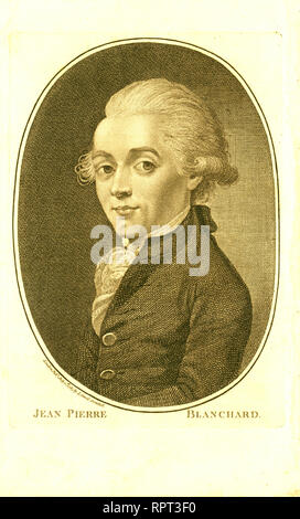 Half-length portrait of French balloonist Jean-Pierre Blanchard. 1785 - Stock Photo