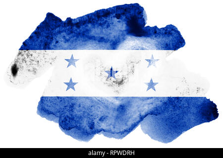 Honduras flag  is depicted in liquid watercolor style isolated on white background. Careless paint shading with image of national flag. Independence D - Stock Photo