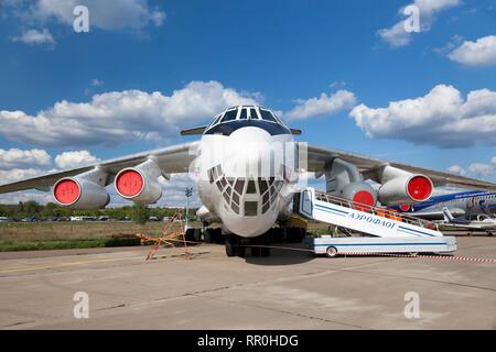 Soviet medium military transport aircraft IL-76LL (flying laboratory) at MAKS 2011, Zhukovsky, Russia - Stock Photo
