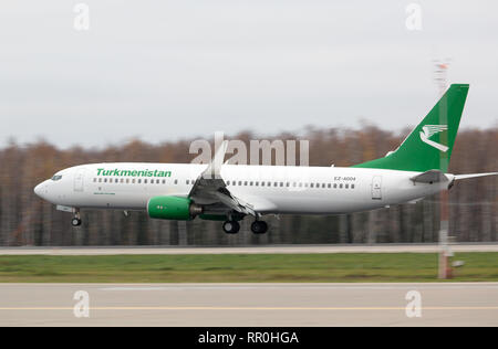 The plane Boeing 737-82K of Turkmen airlines lands on a runway of Domodedovo airport in Moscow - Stock Photo