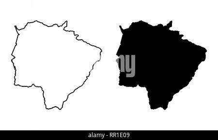 Black and white maps of the Mato Grosso do Sul State, Brazil - Stock Photo