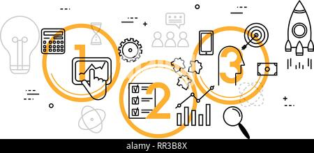 Line thin flat design illustration concept for business process - Stock Photo