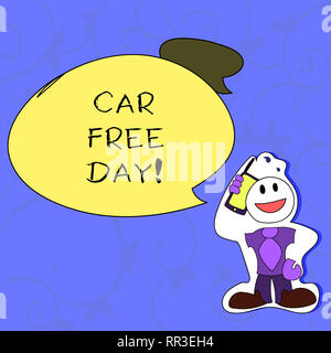 Conceptual hand writing showing Car Free Day. Business photo showcasing Environment protection world campaign avoiding pollution - Stock Photo