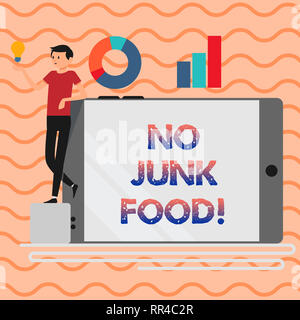 Word writing text No Junk Food. Business concept for Stop eating unhealthy things go on a diet give up burgers fries - Stock Photo