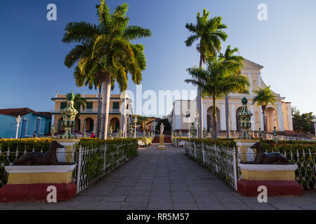 View at Plaza Mayor landmark city square surrounded by historic buildings in Trinidad, Cuba - Stock Photo