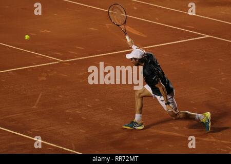 Rio de Janeiro, Brazil, February 23rd 2019. Pablo Cuevas (URU) in the semifinal of the Rio Open 2019 ATP 500. - Stock Photo