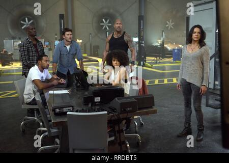 Tyrese Gibson, Ludacris, Scott Eastwood, Dwayne Johnson, Nathalie Emmanuel & Michelle Rodriguez Film: The Fate Of The Furious; Fast & Furious 8; Fast 8 (USA/CAN/FR/UK/JP/ASM 2017)   Director: F. Gary Gray 12 April 2017  SAR71134 Allstar Picture Library/UNIVERSAL PICTURES  **Warning**  This Photograph is for editorial use only and is the copyright of UNIVERSAL PICTURES  and/or the Photographer assigned by the Film or Production Company & can only be reproduced by publications in conjunction with the promotion of the above Film. A Mandatory Credit To UNIVERSAL PICTURES is required. The Photograp - Stock Photo