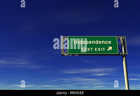 Super high resolution 3D render of freeway sign, next exit... Independence! - Stock Photo