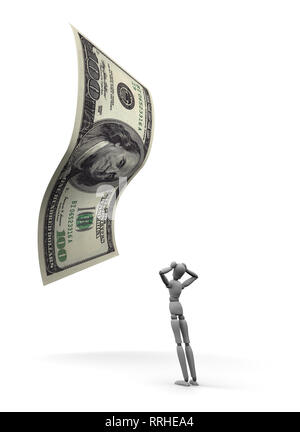 3D render of dumbfounded mannequin standing by a 100 dollar bill. 3D illustration isolated on white background. - Stock Photo