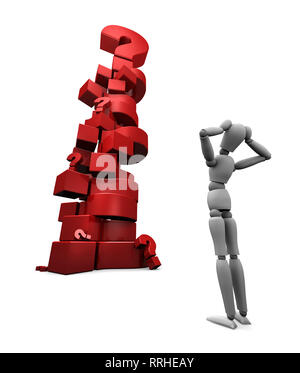 3D render of dumbfounded mannequin standing in front of a stack of red question marks. 3D illustration isolated on white background. - Stock Photo