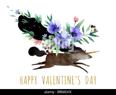 Beautiful watercolor bouquet with watercolor unicorn isolated on white background. Happy Valentine's Day postcard. - Stock Photo