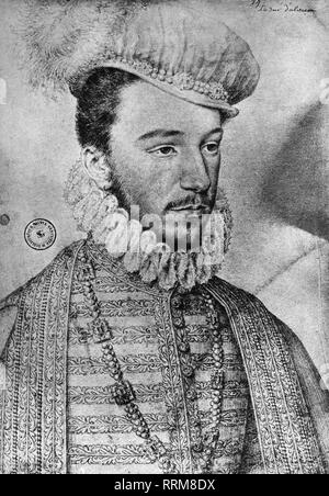 Henry III, 19.9.1551 - 2.8 1589, King of France 1574 - 1589, portrait, as Duke of Anjou, drawing by Francois Clouet, circa 1570, Bibliotheque Nationale, Paris, Additional-Rights-Clearance-Info-Not-Available - Stock Photo