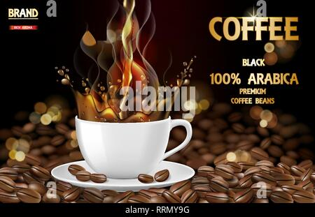 Arabica black coffee cup with splash and beans ads. 3d illustration of hot arabica coffee mug. Product design. Vector - Stock Photo